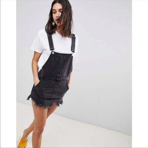 Free People Gray Denim Overall Skirt